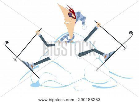 Cartoon Skier And A Big Snowdrift Illustration. Cartoon Skier Appears From The Big Snowdrift Illustr