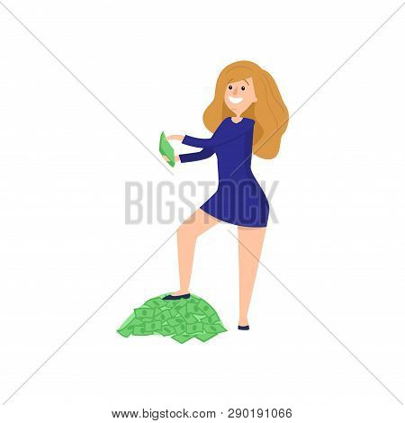 Young Redheaded Girl Put One Her Foot On Pile Of Money