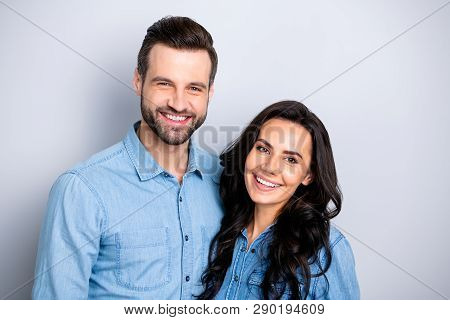 Close Up Portrait Two Cool Beautiful Amazing She Her He Him His Couple Lady Guy Friends Stand Close