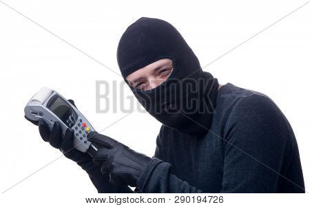 Image of thief in black mask with terminal in hands.