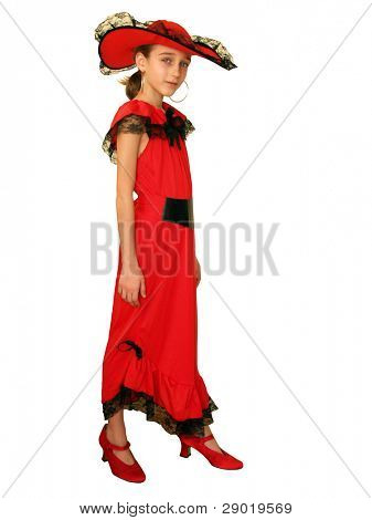 Portrait of a girl in red dress posing (isolated)