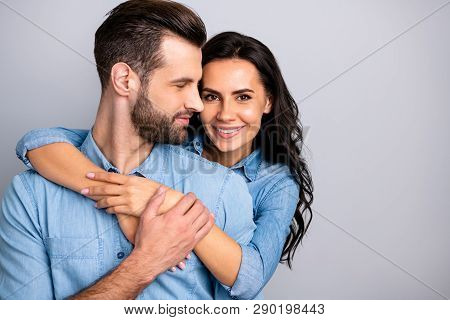Love Affair. Portrait Of Charming Couple Of Millennial Cheerful Positive Placing Hands Around Chest