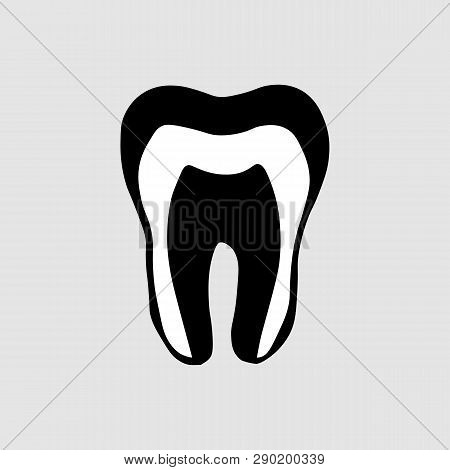 Depicting A Tooth Icon . Medical Illustration Of Tooth Root Inflammation, Tooth Root Cyst, Pulpitis.