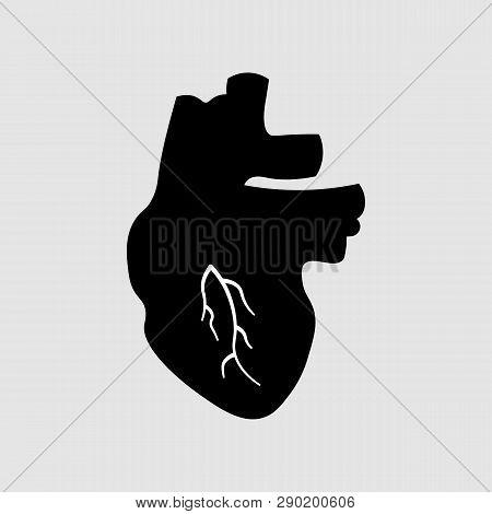 Stylized Human Heart Anatomy Icon. Medical Illustration