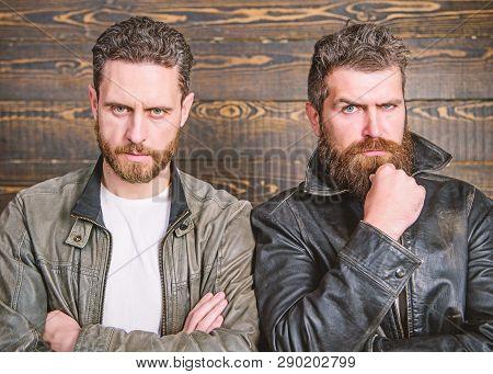 Leather Fashion Menswear. Handsome Stylish And Cool. Brutal Men Wear Leather Jackets. Men Brutal Bea