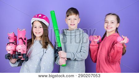 Sport Activity For Teens. Join Active Lifestyle. Kids Girls And Boy With Roller Skates Dumbbells And