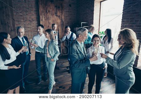 Close Up Photo Business People Crowd Different Age Race Leisure Excited Team Building Members Gather