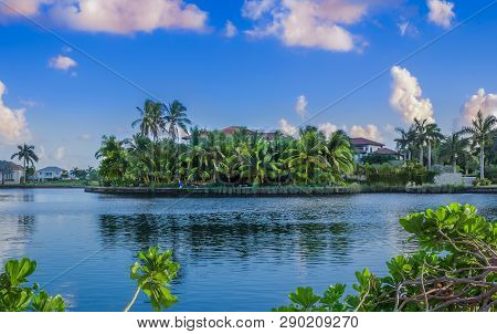 View Of The Grand Harbour Area On Grand Cayman Island Surrounded By Canals Leading To The Caribbean