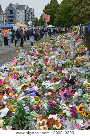Christchurch, New Zealand - March 18, 2019; Floral Tribute To The 50 People Shot And Killed At Two M