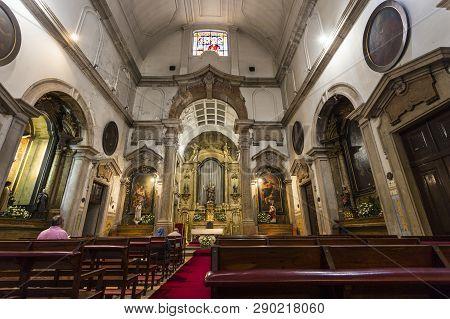 Lisbon - July 3, 2018: View Of Inside The Church Of Our Lady Of Victory (igreja De Nossa Senhora Da