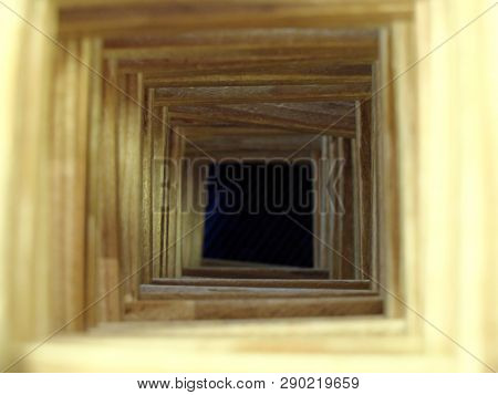 The Wooden Tunnel To The Dark Abyss. The Concepts Of Loosing Hope, Hopeless Future, Misfortune And M