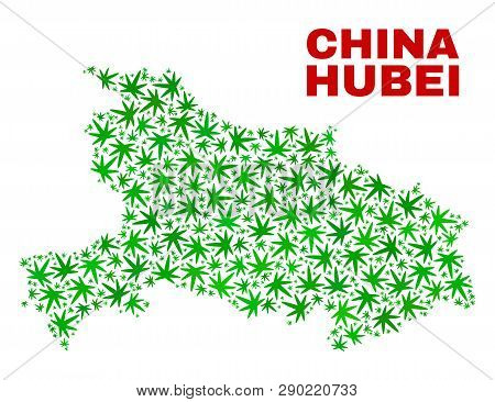 Vector Cannabis Hubei Province Map Mosaic. Template With Green Weed Leaves For Hemp Legalize Campaig