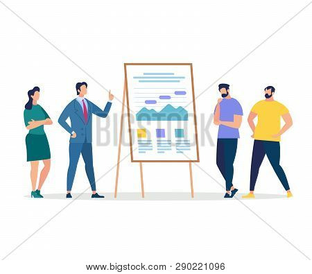 Business Training. Listeners And Coach Presentation At Chart Board For Office Workers. Education Of