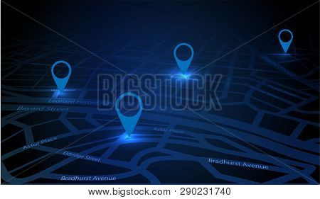 Gps Tracking Map. Track Navigation Pins On Street Maps. Futuristic Design Navigate Mapping Technolog