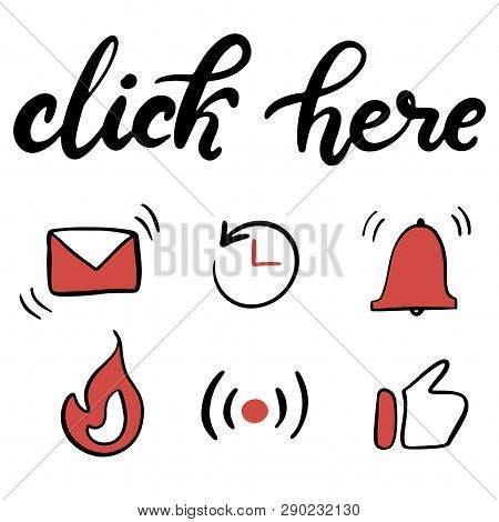 Vector Illustration Of Lettering Icons Set For Youtube Channel. Template With Elements For Social Me
