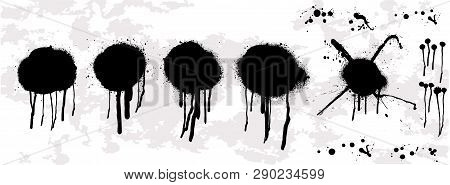 Dripping Oil Blob. Spray Graffiti Stencil Template. Isolated Collection.drip Drop Paint Or Sauce Sta