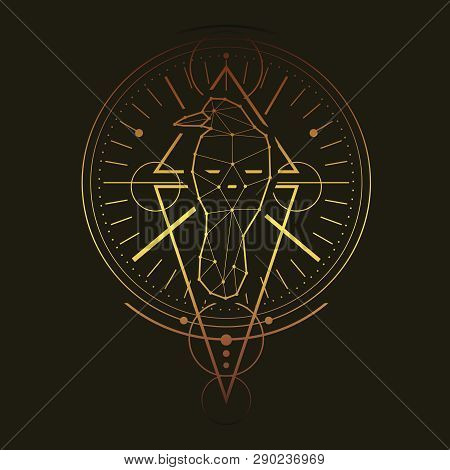 Mystical Geometry Symbol. Linear Alchemy, Occult, Philosophical Sign. Low Poly Raven. For Music Albu