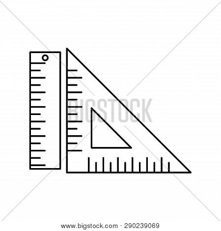 Ruler Icon. Simple Illustration Of Ruler Icon For Web. Ruler And Square Measuring Tools Icon Isolate