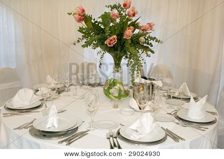 Table set for a wedding dinner