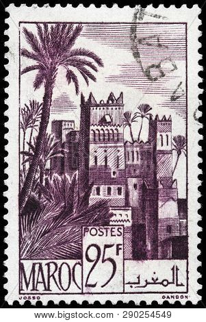 Luga, Russia - February 13, 2019: A Stamp Printed By Morocco Shows Beautiful View Of Ouarzazate - A