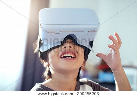 Toddler Boy Using A New Virtual Reality Headset.little Boy In 360 View Virtual Reality Glasses Playi
