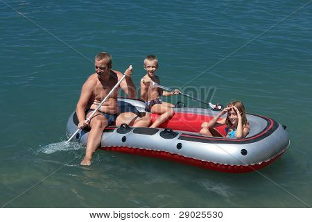 Family in the boat