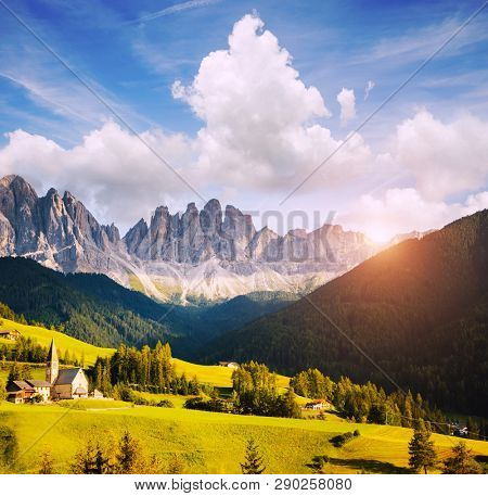 Splendid landscape in St. Magdalena or Santa Maddalena village. Location place Val di Funes (Villnob), Dolomite alps, Trentino-Alto Adige, Italy, Europe. Discover the beauty of earth.