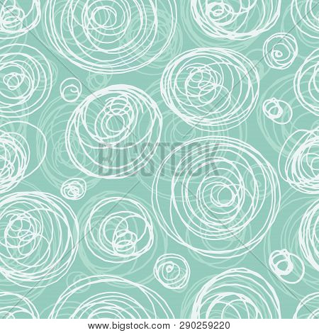 Blue And White Seamless Pattern In Doodle Style. Swirls, Ringlets, Circles Illustration.