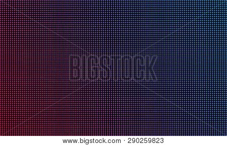 Led Video Wall Screen Texture Background. Vector Blue And Red Purple Color Light Led Diode Dot Grid