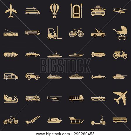 Moving Transport Icons Set. Simple Style Of 36 Moving Transport Vector Icons For Web For Any Design