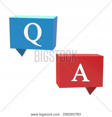 3d Questions And Answers Icon On White Background. Flat Style. 3d Questions And Answers Icon For You
