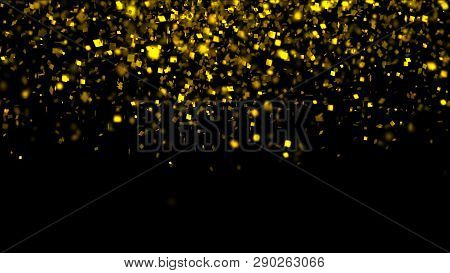 Thousands Of Confetti Fired On Air During A Festival At Night. Image Ideal For Backgrounds And Overl