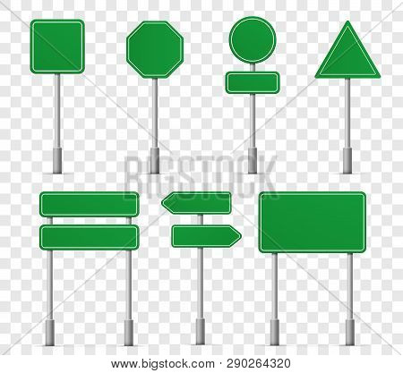 Road Board Highway Signs Icons. Vector Street Signboard Information Pointer, Street Direction Road S