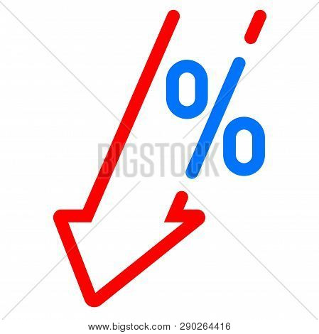 Gdp Decrease Fall, Red Arrow And Percent Icon. Vector Gdp, Investment Profit Loss Arrow Down Symbol