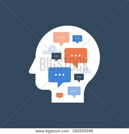 Communication Concept, Public Speaking, Self Reflection, Psychology Or Psychiatry, Vector Icon, Flat