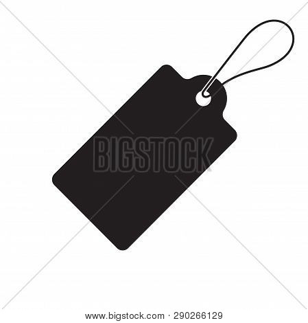 Price Tag Label Vector Icon. Vector Sale Blank Black Pricetag Isolated On White Background