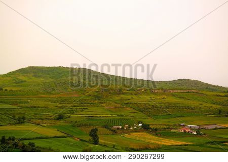 Landscape With The Military Bunkers In The Middle Of A Rural Fields Near Apollonia, Fier, Albania