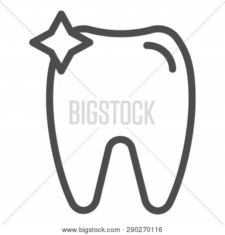 Tooth Line Icon. Dent Vector Illustration Isolated On White. Dentistry Outline Style Design, Designe