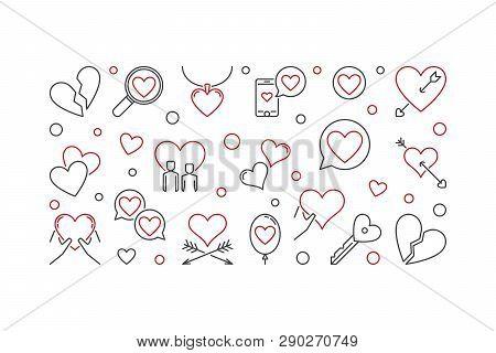 Lovesickness Vector Horizontal Illustration In Thin Line Style