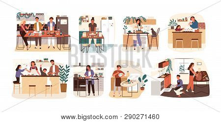 Collection Of People Cooking In Kitchen, Serving Table, Dining Together, Eating Food. Set Of Smiling