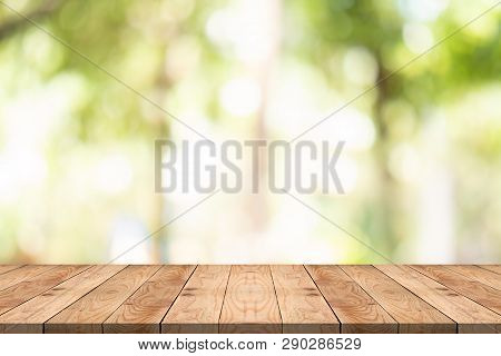 Empty Wood Table On Blurred Background Copy Space For Montage Your Product Or Design,blank Brown Boa