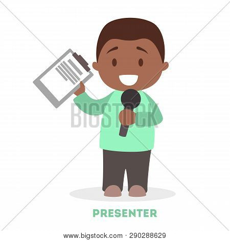 Little Boy As A Newscaster. Young Character Standing
