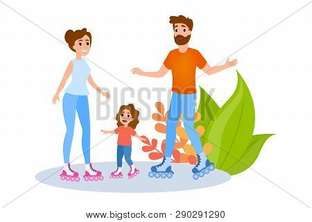 Family Is Rollerskating. Summer Outdoor Activity. Mother
