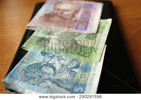 Ukrainian Money, Hryvnias And Kopeks, Close-up, 20, 50, 5, 1 Hryvnia