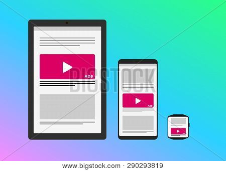 Marketing Strategy In Multi-digital Platform - Programmatic Advertising Cross Targeting Ads Concept.