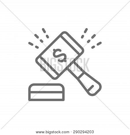 Auction Hammer, Gavel, Sales Of Company Stock Market Line Icon.