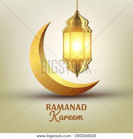 Ramadan Kareem Greeting Card Vector. Islam. Lamp. Lantern Design. Mubarak Night. Ramazan Design. Mus