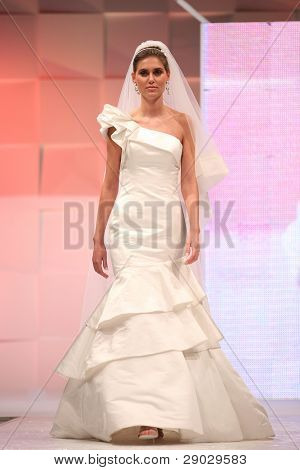 ZAGREB, CROATIA - FEBRUARY 4: Fashion model in wedding dress on 'Wedding days' show, February 4, 2011 in Zagreb, Croatia.