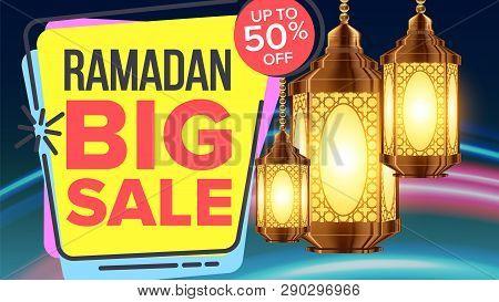 Ramadan Sale Banner Vector. Islamic Poster. Arabic Template. Ramazan Greeting. Illustration