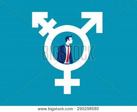 Man In Transgender Symbol. Concept Human Lifestyle.